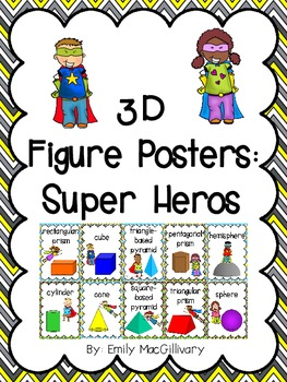 3D Shapes (3D Figure) Posters: Super Hero Kids Theme