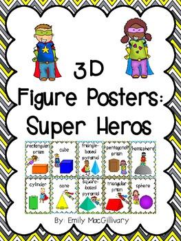 3D Shapes (3D Figure) Posters: Super Hero Kids Theme