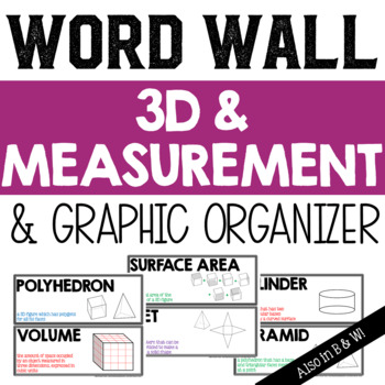 3D Figures and Measurement Vocabulary Word Wall and Graphic Organizer
