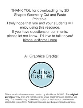 3D Geometric Shapes Cut and Paste Printable