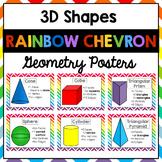 3D Shapes Geometry Posters | Rainbow Chevron