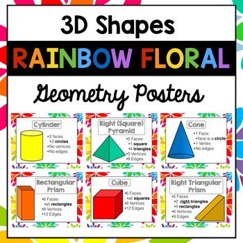 3D Shapes Posters | Geometric Solids | Rainbow Floral