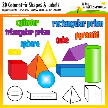 3D Geometric Shapes and Labels Clip Art Graphics