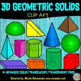 3D Geometric Shapes Clipart for Teachers, Clip Art for Commercial Use