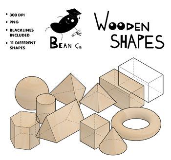 3D Geometric WOOD Clipart [Bean Co ]