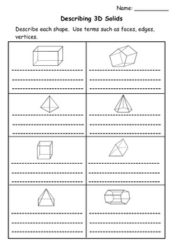 3D Geometry: Faces, Vertices, Edges (SMARTboard Lesson and Printables)