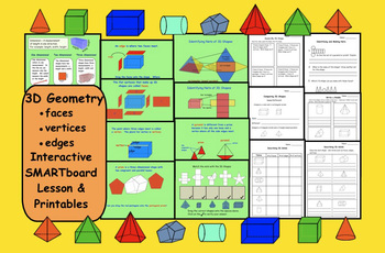 3D Geometry: Faces, Vertices, Edges (SMARTboard Lesson and