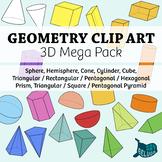 Geometry Clip Art: Solid 3D Shapes Mega Pack – For Print and Digital