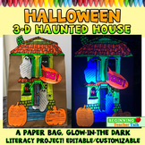 3D, Glow-in-the-Dark Halloween Haunted House Literacy Centers