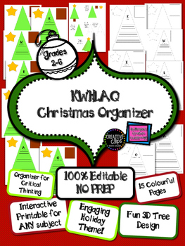 FREE 3D Graphic Organizer Christmas Tree Holiday Math Language Writing