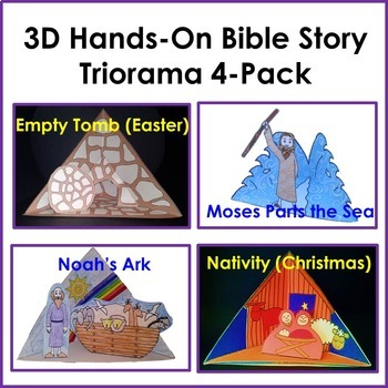 Triorama 4-Pack (Christmas, Noah, Moses, Easter) Bible Crafts