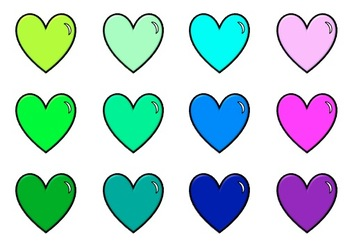 3D Hearts Clipart - 32 Colors!