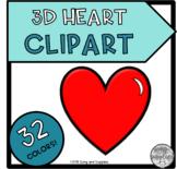 3D Hearts Clipart - 32 Colors!