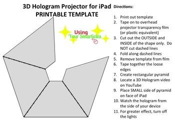 photo about Printable Hologram named 3D Hologram Projector Template