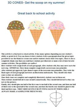 3D Ice Cream Cones- Open House Writing Project