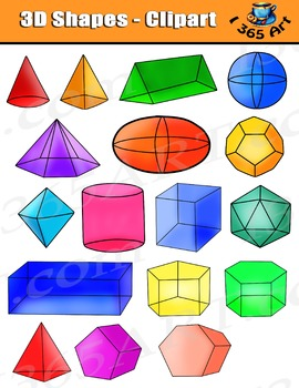3D Shapes Clipart, Isometric 3D Shapes Digital