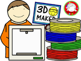 3D Printing Kids Clipart (Personal & Commercial Use)