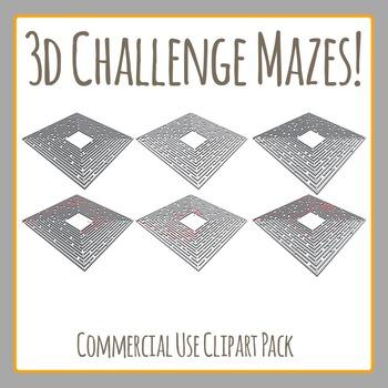 3D Maze Challenge! - Commercial Use Clip Art Set