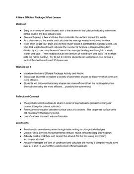 3D Measurement Culminating/Summative Task- Design a more e