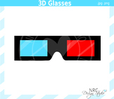 3D movie glasses clipart commercial use