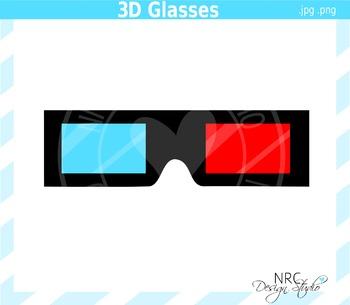 3D Movie Glasses Clip Art - Commercial Use Clipart