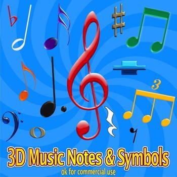 3D Music Notes & Symbols Clipart Set - 216 w/transparent background