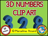 BLUE 3D NUMBERS CLIP ART - NUMBERS 0 TO 9 - BACK TO SCHOOL