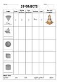 3D Objects Chart (Worksheet)
