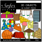 3D Objects Clipart {A Hughes Design}