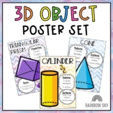 3D Objects / Shapes Poster Set { Watercolour and Black and White }