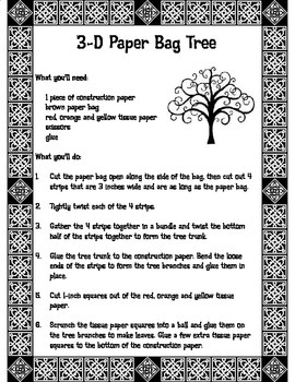 3D Paper Bag Tree Craft Student Directions
