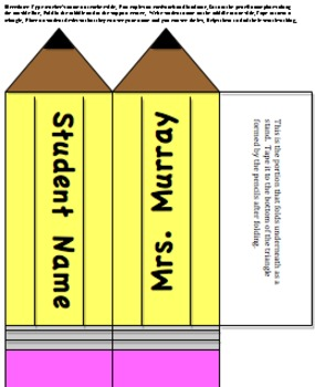 3D Pencil Student Teacher Name Plate Desk Top