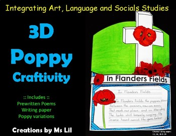 3D Poppy Craftivity  ::  Remembrance Day  ::  Veteran's Day  :: Memorial Day  :