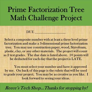 3D Prime Factor Tree w/ Rubric