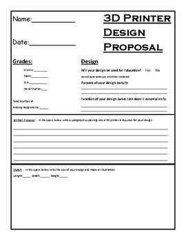3D Printer Student Design Proposal, Student Application