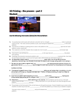 3D Printing--the Process--part 2--Handout, Worksheet and Key