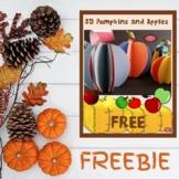 3D Pumpkins and Apples Craft FREEBIE