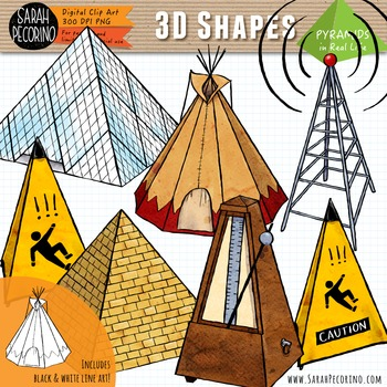 3D Pyramids in Real Life Clip Art