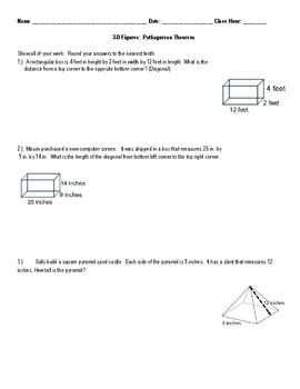 3D Pythagorean Theorem (finding diagonal)