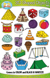 3D Real World Shaped Objects Clipart {Zip-A-Dee-Doo-Dah Designs}