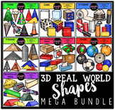 3D Real World Shapes Clip Art Bundle {Educlips Clipart}