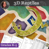 3D Reptiles Art Lesson and worksheets