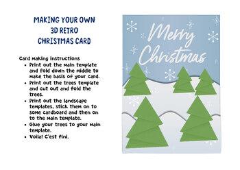 3D Retro Christmas card template