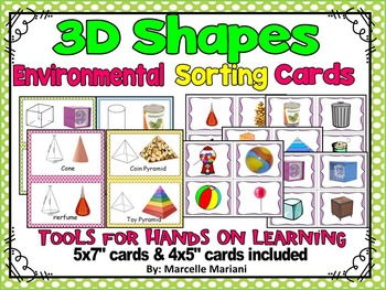 3D SHAPES ENVIRONMENTAL CARDS SORTING CENTER & GROUP CARDS