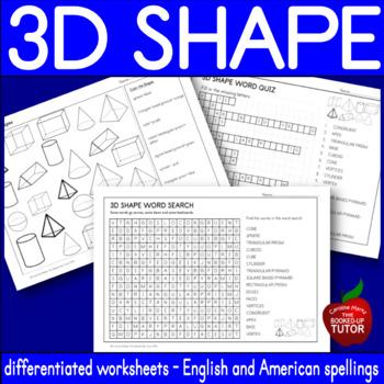 {3D SHAPES worksheet} {3D shape attributes} {3D shapes assessment}