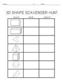 Geometry:  3D Shapes Scavenger Hunt {FREE}