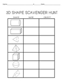 Geometry:  3D Shapes Scavenger Hunt {FREE}