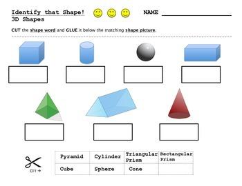 3D Shape Assessment - Diagnostic - Identification - Cut and Paste