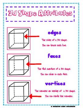 3d Shape Attributes By A Pencil And A Dream Teachers Pay Teachers