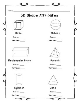 3d shape attributes by miss cramer 39 s kinder kiddos tpt. Black Bedroom Furniture Sets. Home Design Ideas